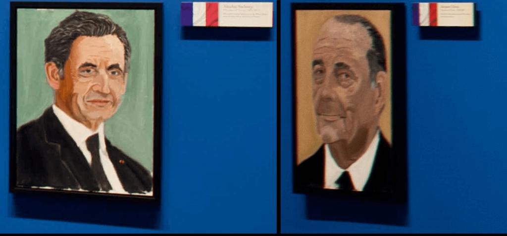 Nicolas Sarkozy et Jacques Chirac peint par George W. Bush. (Aussi bon peintre que président)
